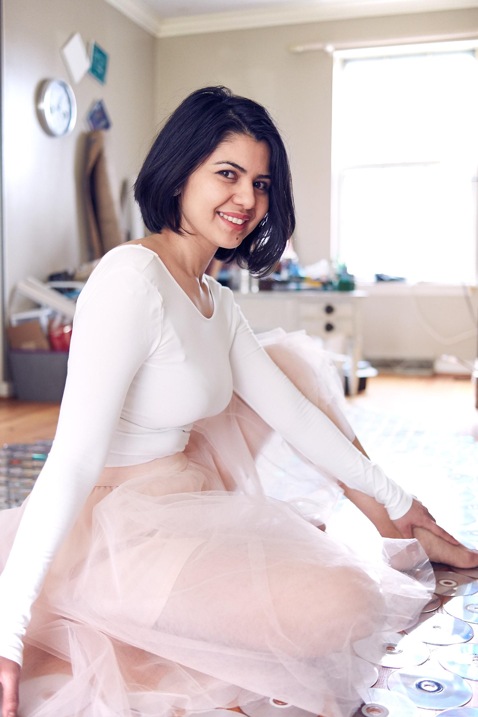 Artist-Scientist, Golara Haghtalab   In her studio.