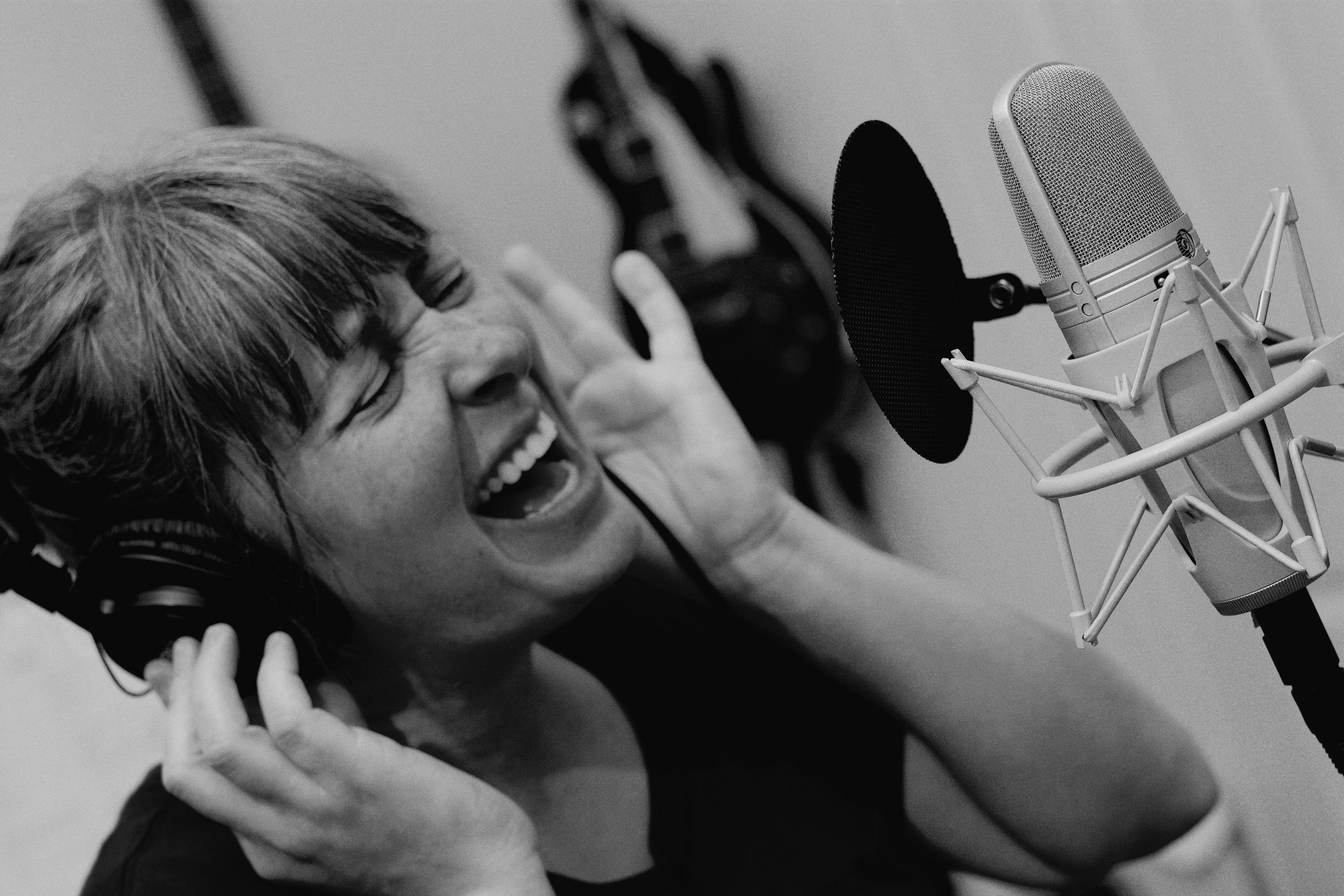 Tera Johnson recording at  JBRecording  studios in Austin, TX