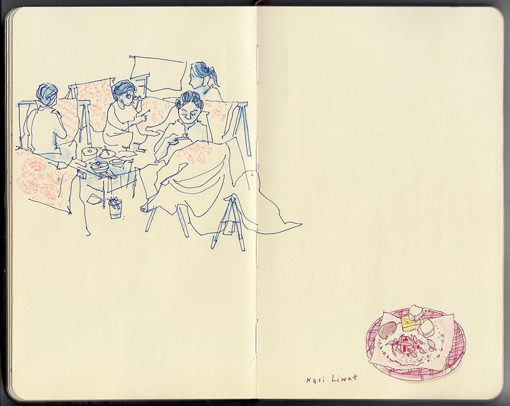 Women applying wax for batik dyeing