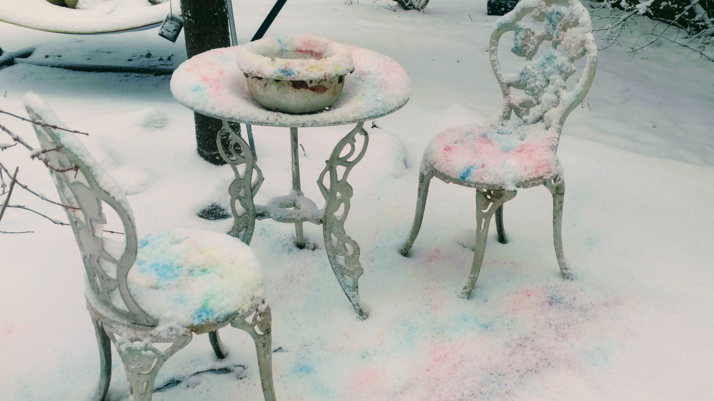 Painted snow.