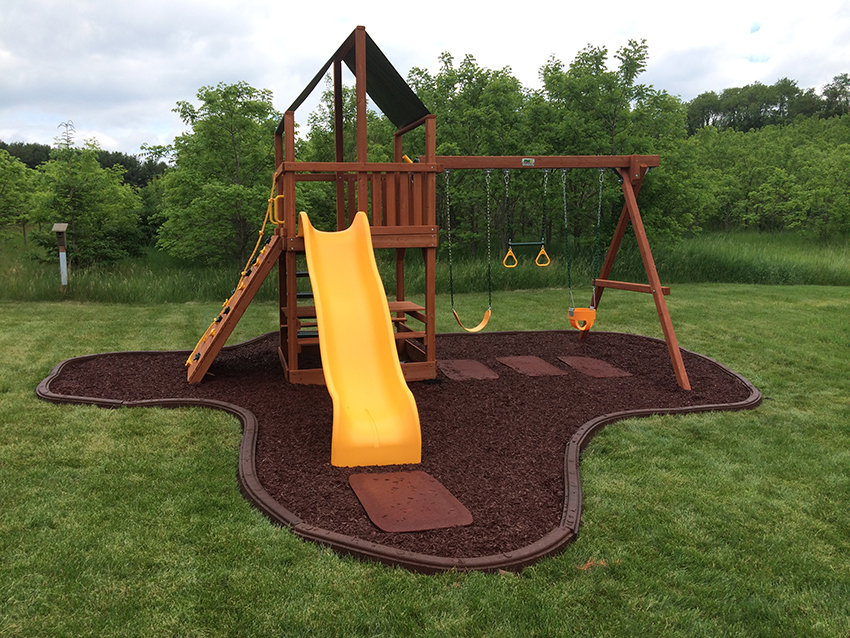 Rubber mulch for playground flooring.
