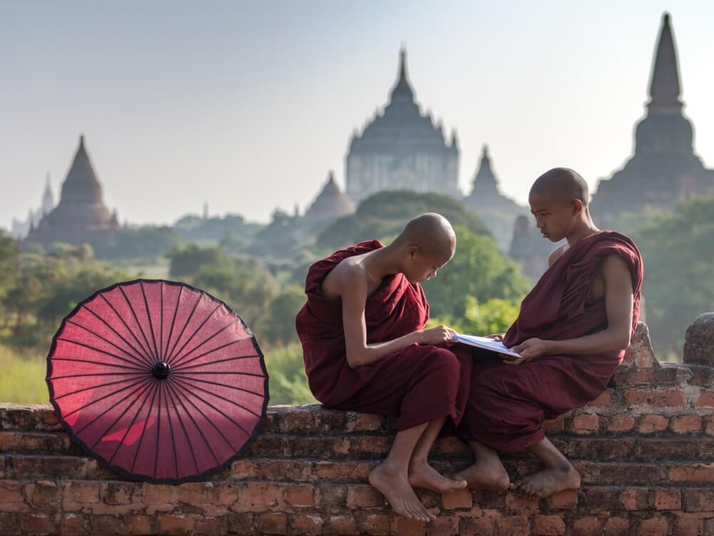 HOM Myanmar Bagan novices reading duo.jpg