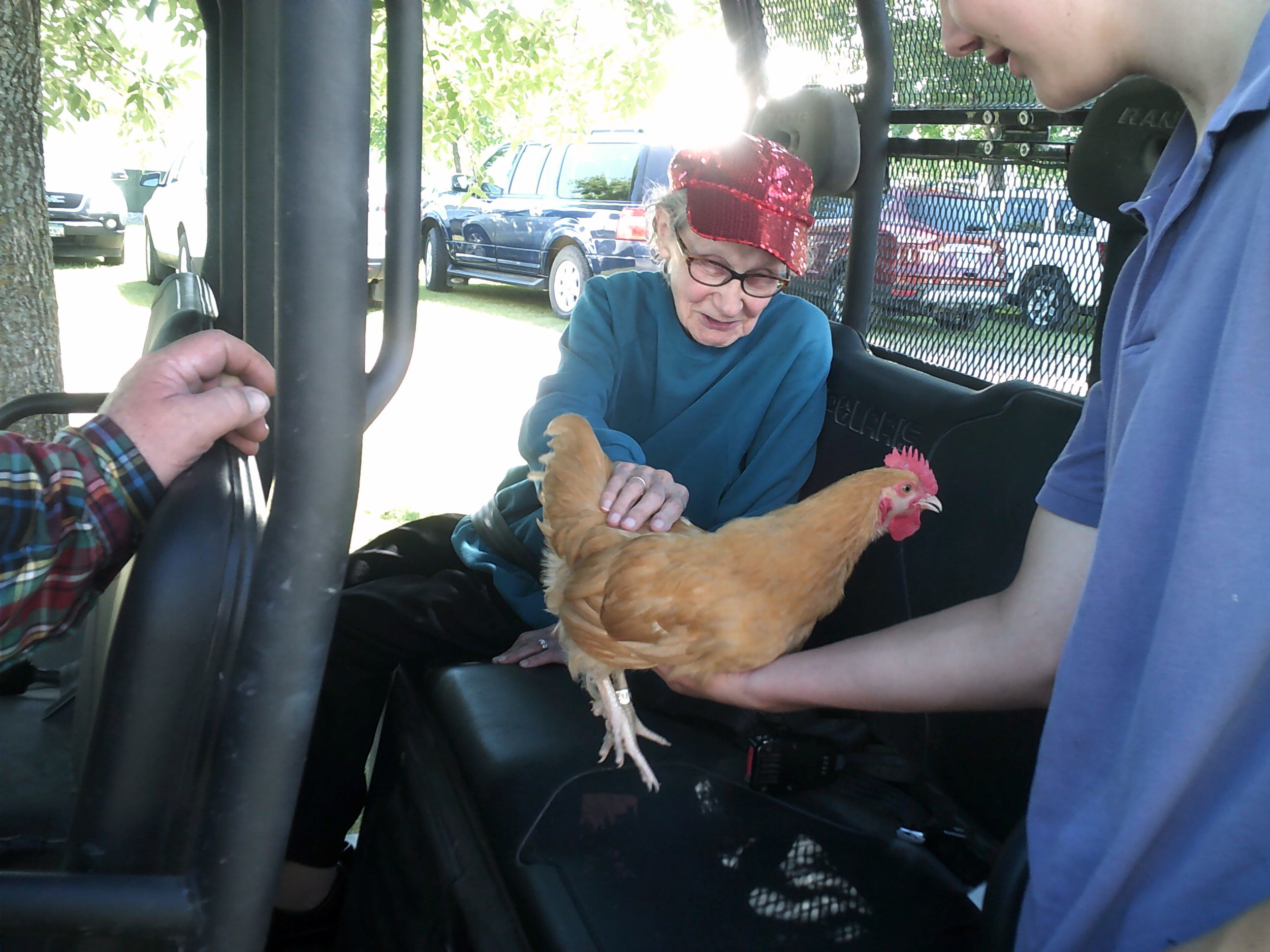 Valley Care and Rehab's residents were introduced to many of the animals and livestock on display at the fair.
