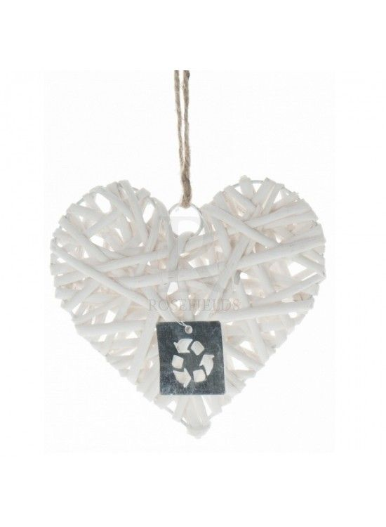 White Distressed Heart (X12) 15cm