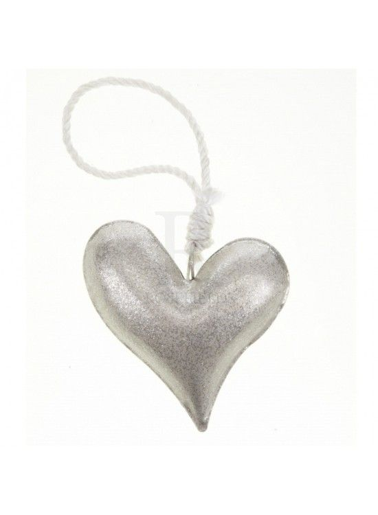 Silver Glitter Heart (X12) 10cm £1