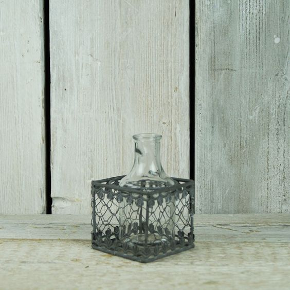 Tall Glass Jar with Filigree Basket £2.00