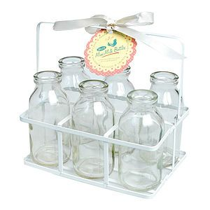 6 Milk Bottels in Wire Basket £5.00