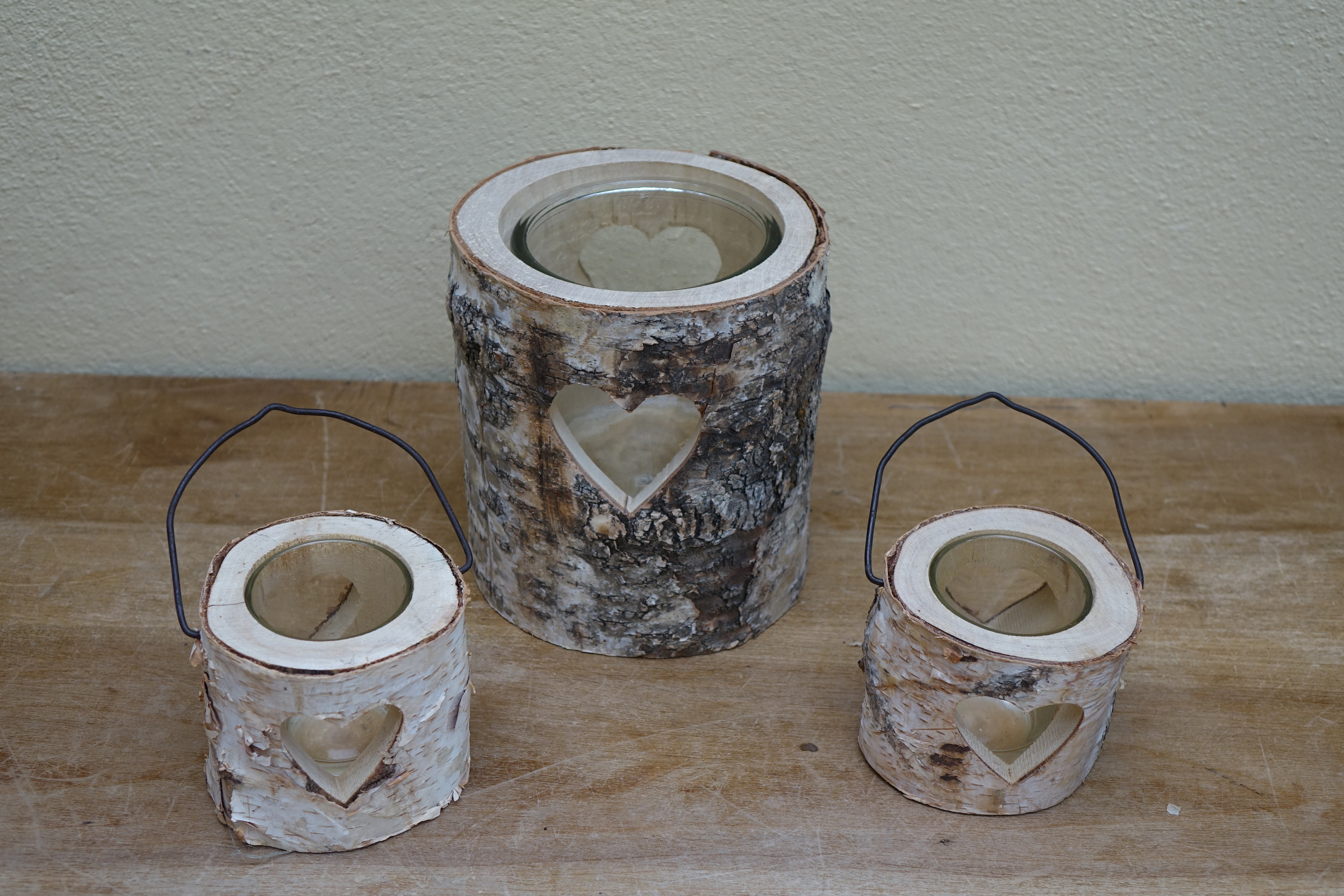 Bark Heart Candle Lanterns Large £4, small £2. 12 Large and 36 small