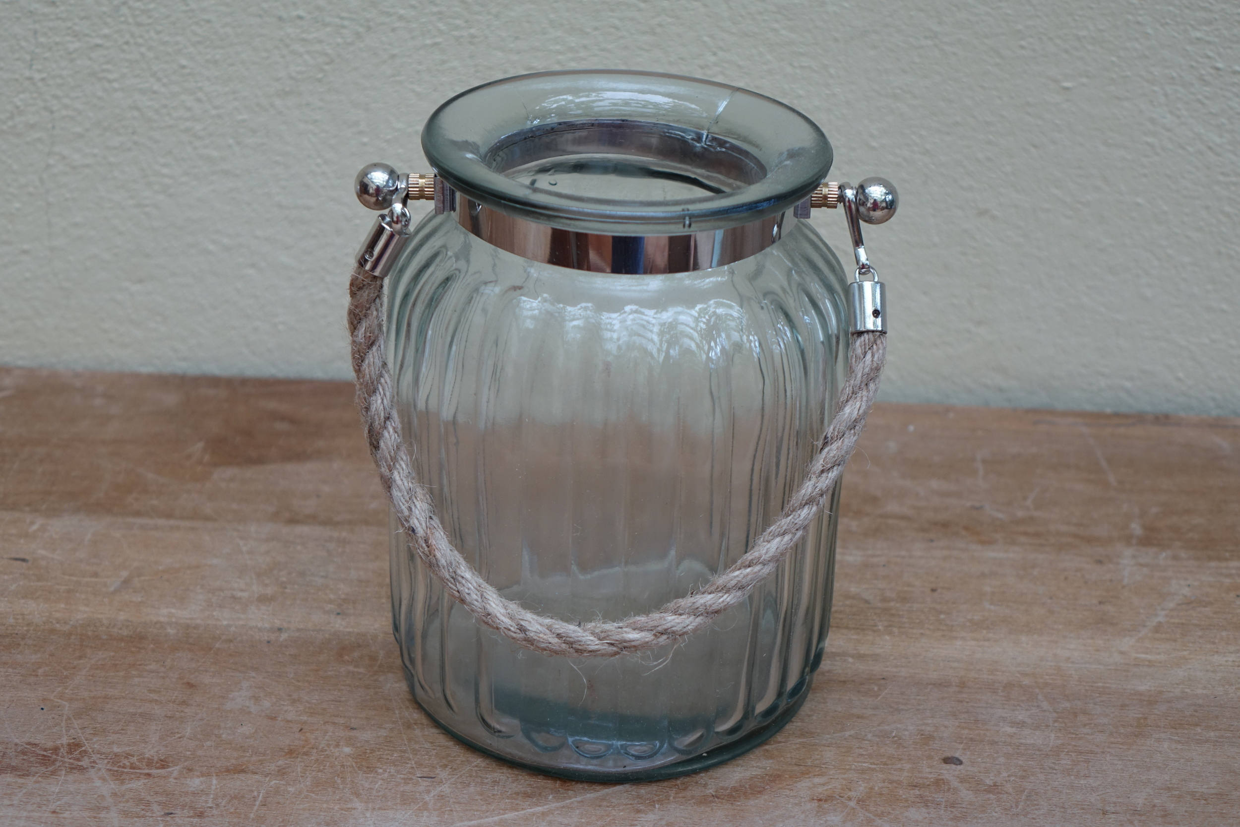 Medium Ribbed Glass Hurricane Lamps £3