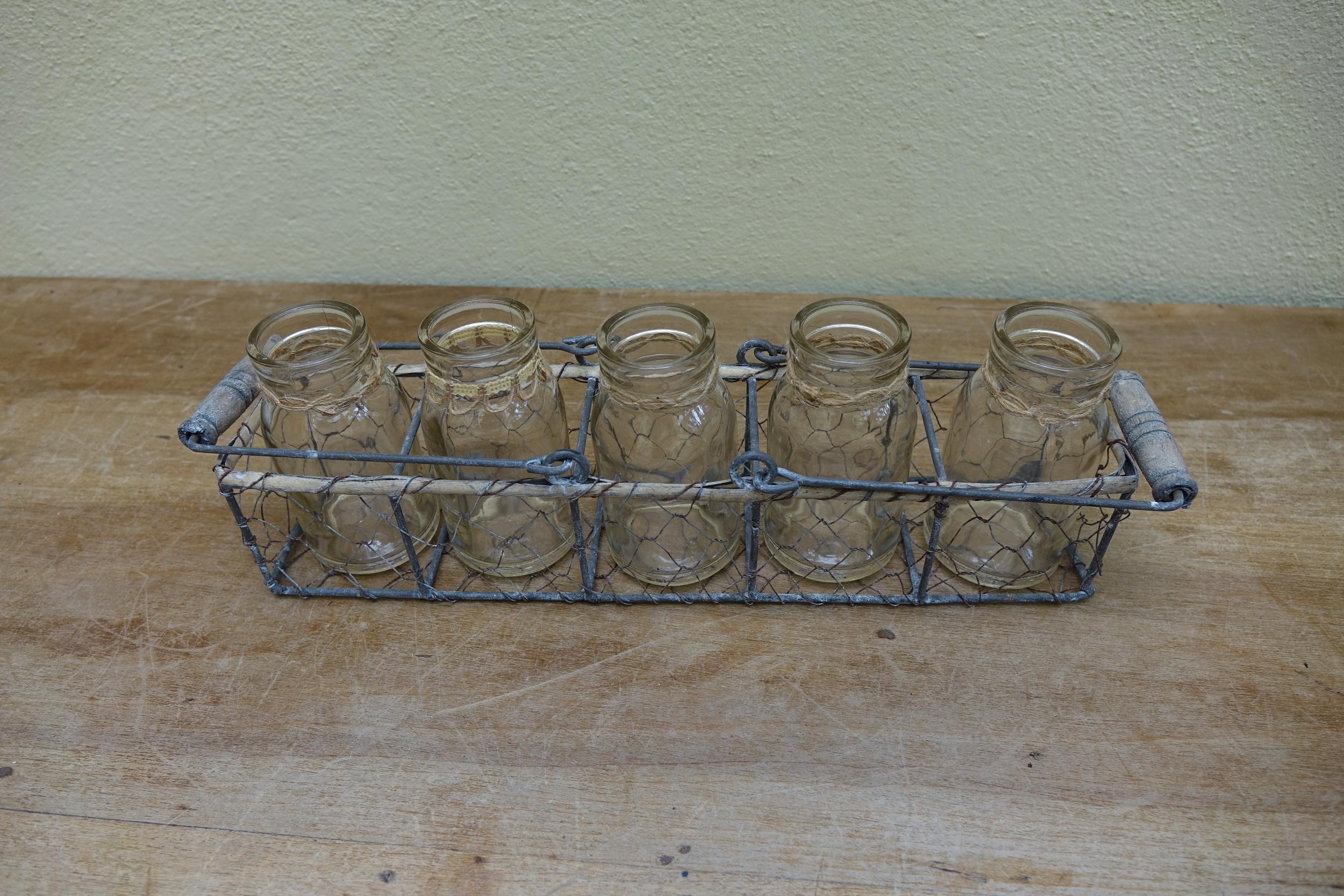 Mini Milk Bottles & Basket £5