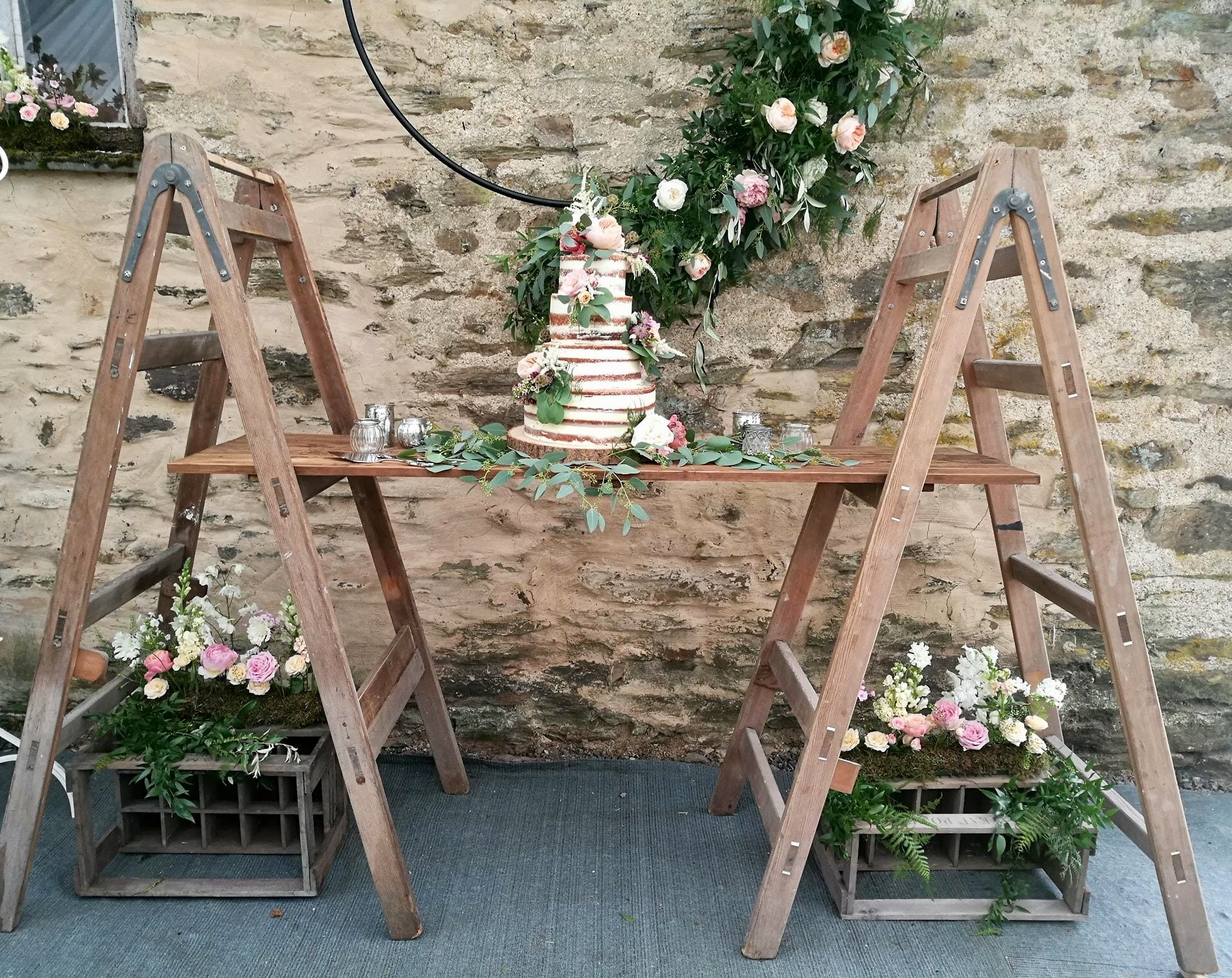 2 A Frame ladders  and 1 Shelf £60.00