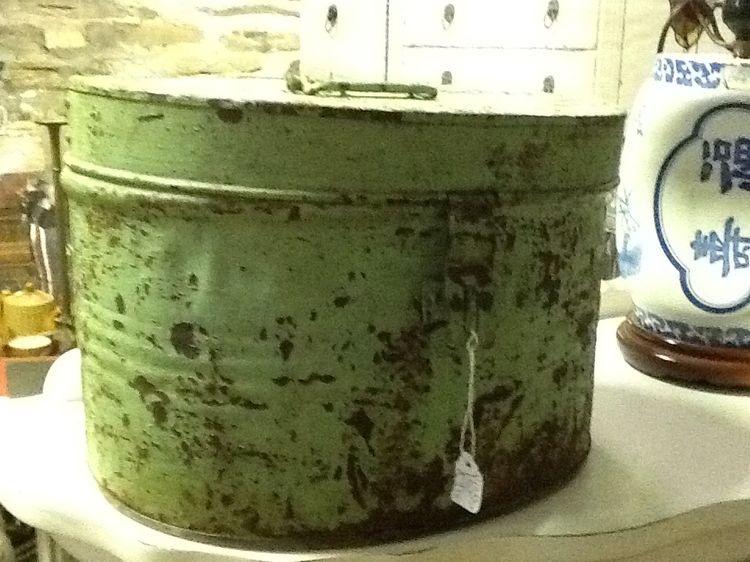 Green tin hat box £10 - same colour design as previous