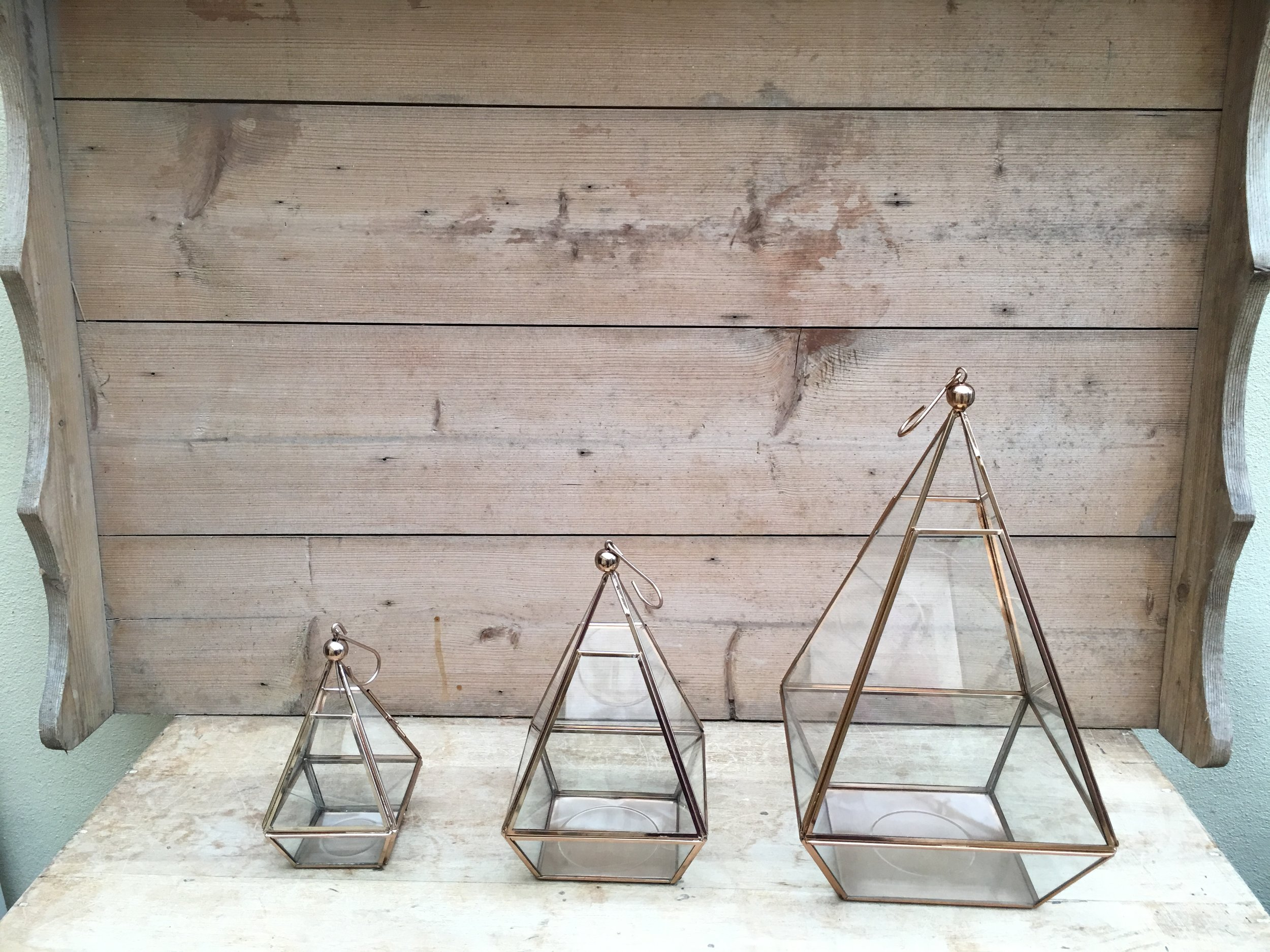 Geometric terrariums - Small £4 each  - 8 number total  Medium £6 each - 8 number total   Large £8 each - 4 number total