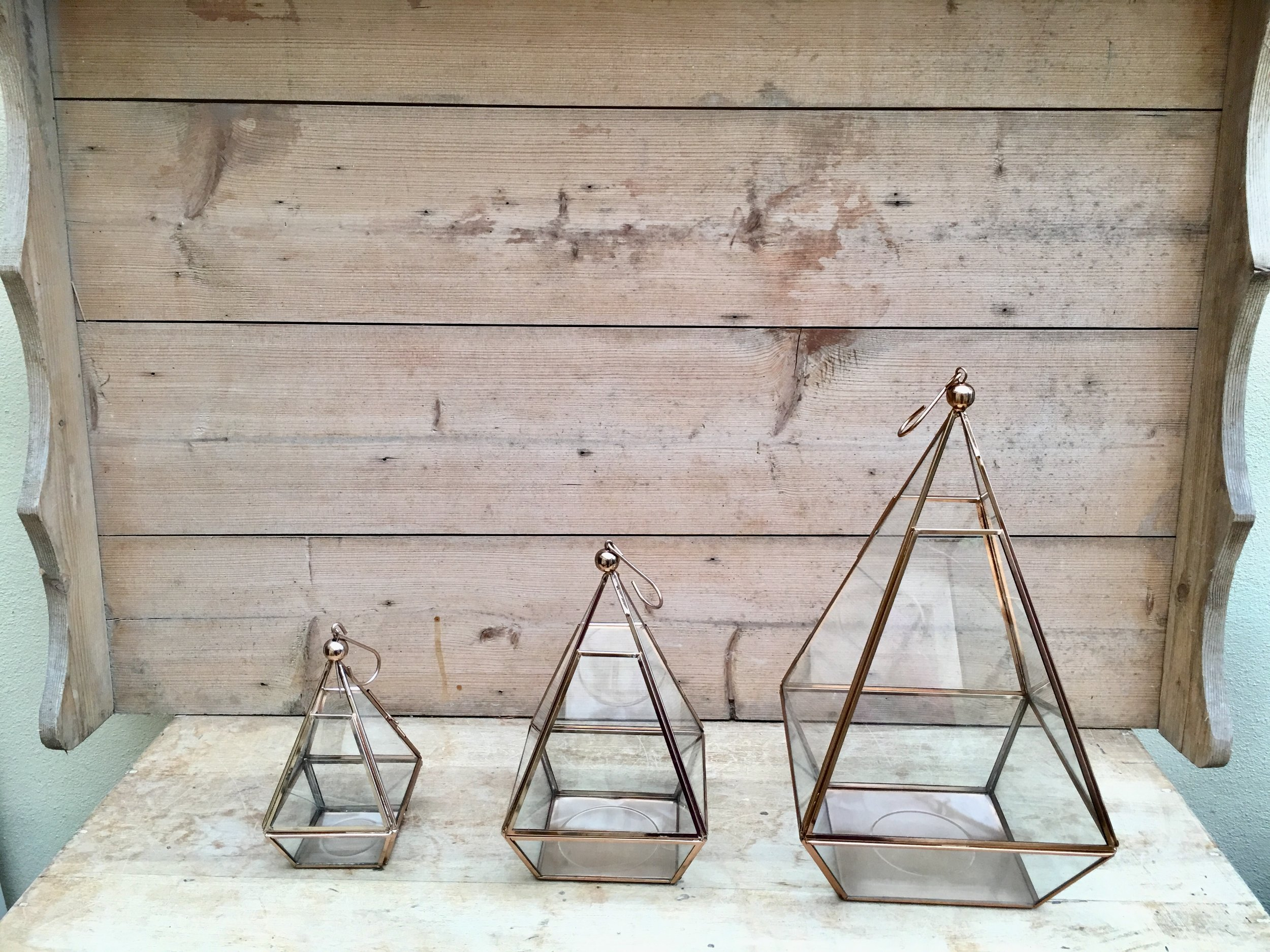 Terrariums £6 medium, small £3 and open lanterns £3