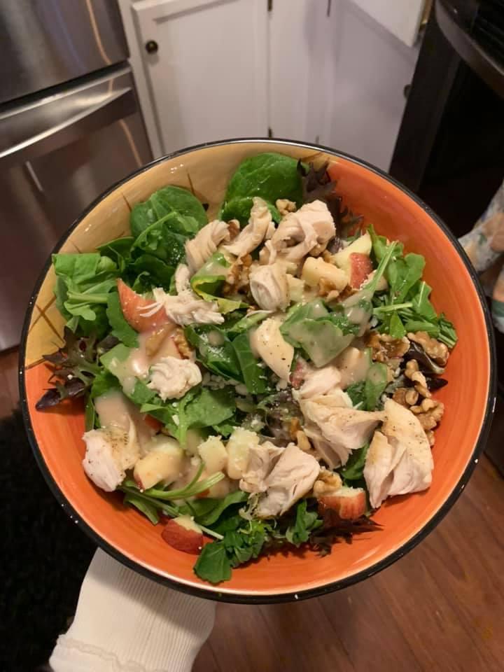 Easy Chicken, Walnut, Apple & Blue Cheese Salad