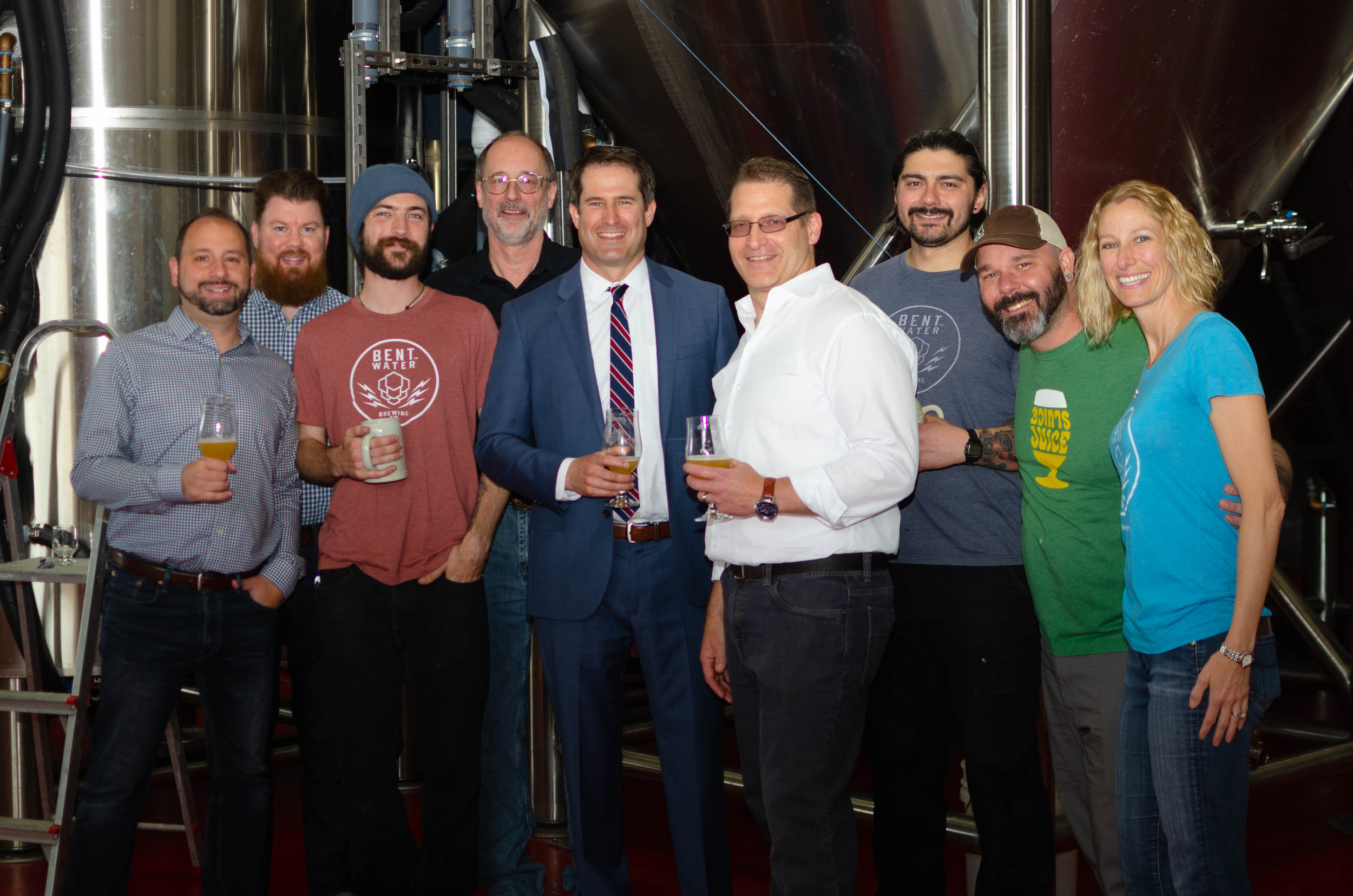 Congressman Seth Moulton Visit - The Bent Water Brewing crew welcomed Congressman Moulton back to the brewery to tour the newly expanded production facility. May 24, 2019