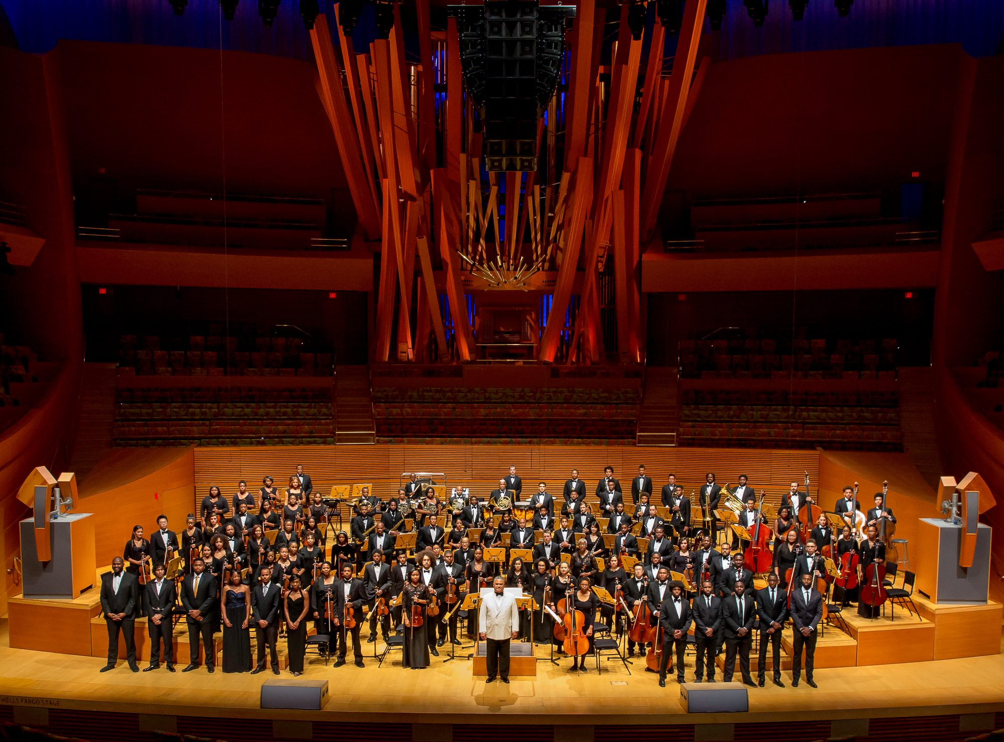 The Katalyst Rhythm Section (Standing to the right) and the Inner City Youth Orchestra of Los Angeles