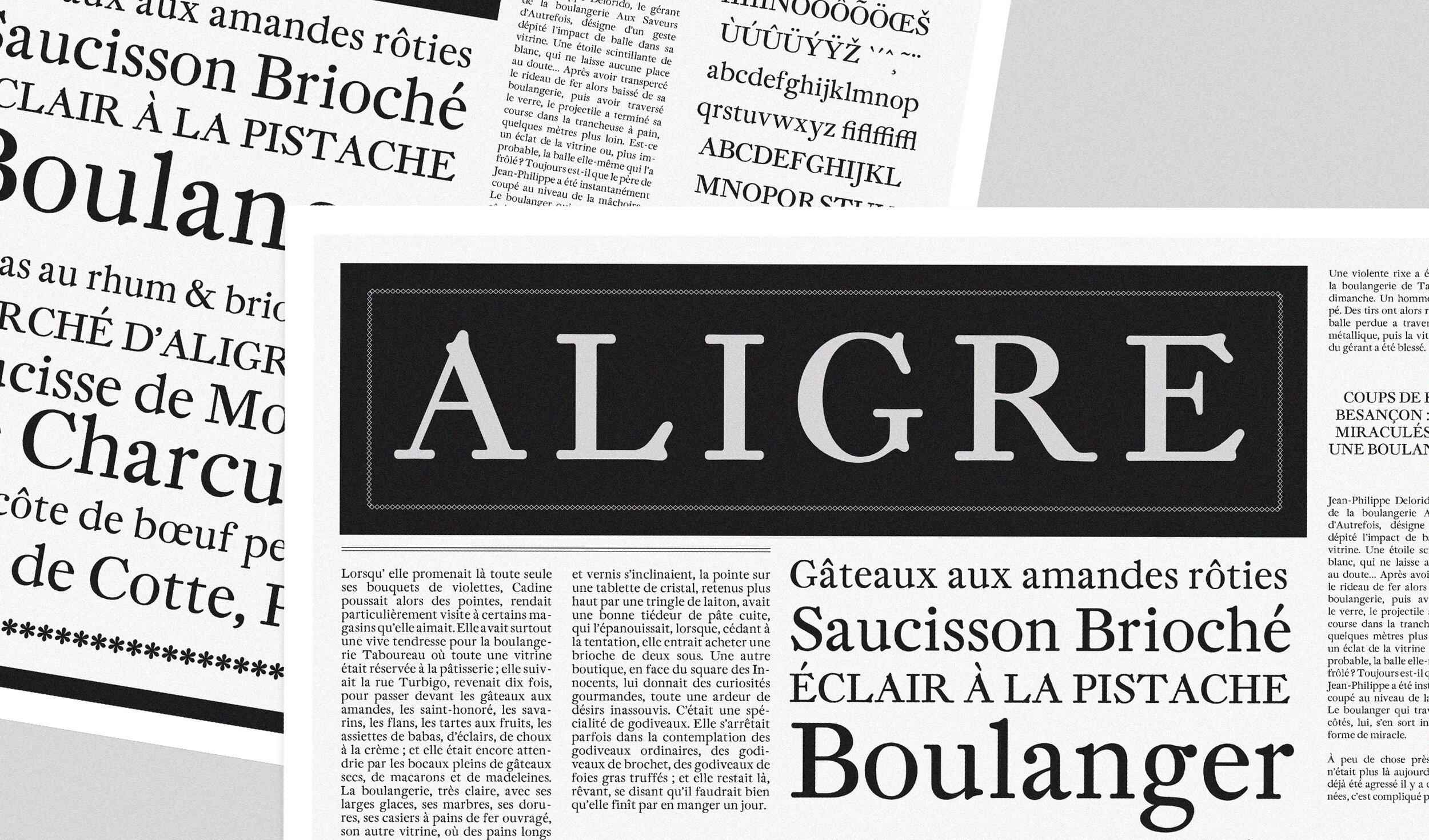 Aligre Regular ☞  A playful revival of Fleischman Antiqua by Dutch typographer and punchcutter Joan Fleischman.
