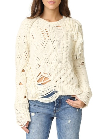 Distressed Classic Cable Knit