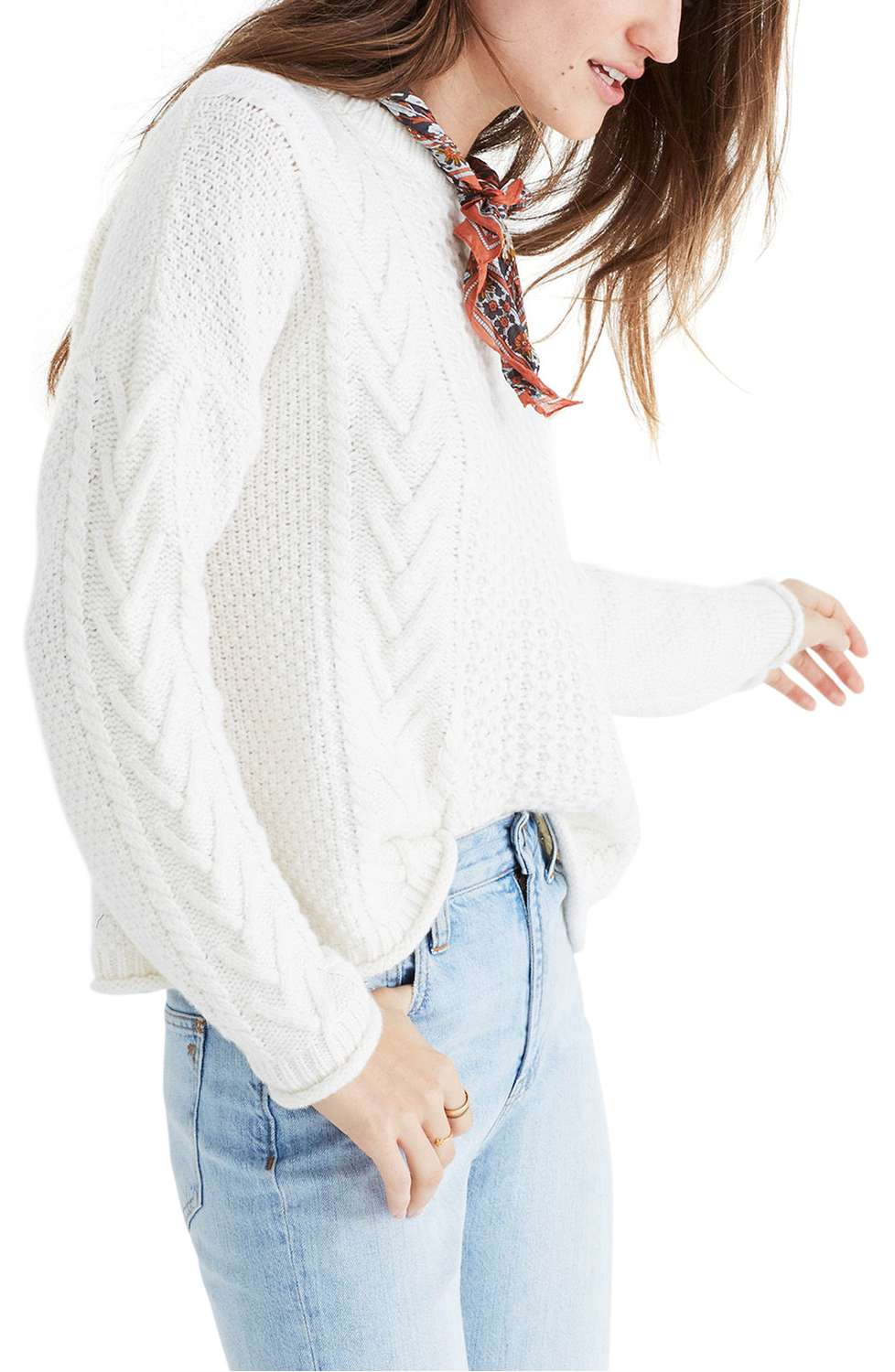 madewell cable knit pullover