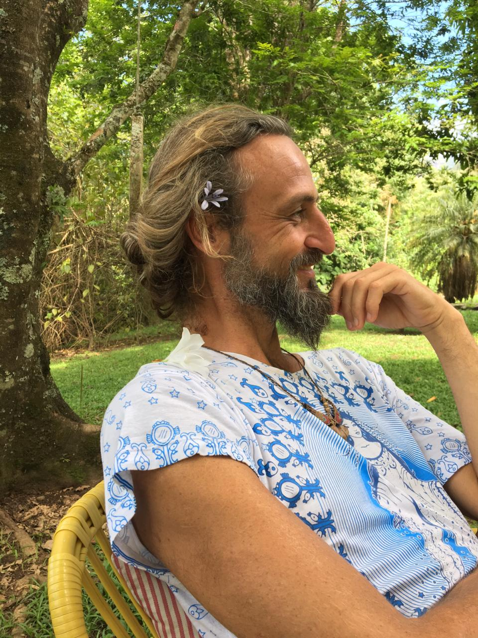 Grégory Puente, the Nima, at the beginning of a retreat in Brazil, 2018.