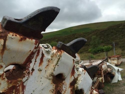 "Derelict machinery at ""The Big Pit,"" Blaenavon, Wales"