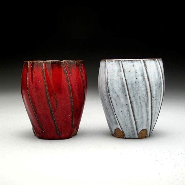 Gear cups.  Hand carved from thrown blanks. Tried something a little bit different by carving diagonally. Not sure if it is something I will continue... thoughts?