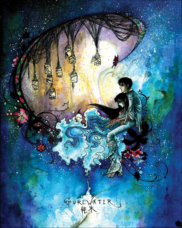Purewater, 2008. watercolor, ink, suminagashi
