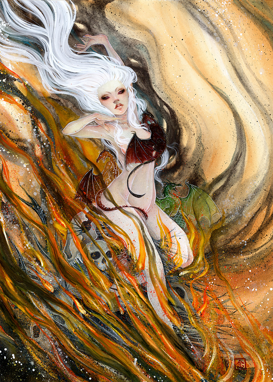 Dracarys \\ 18x24 \\watercolor, gouache