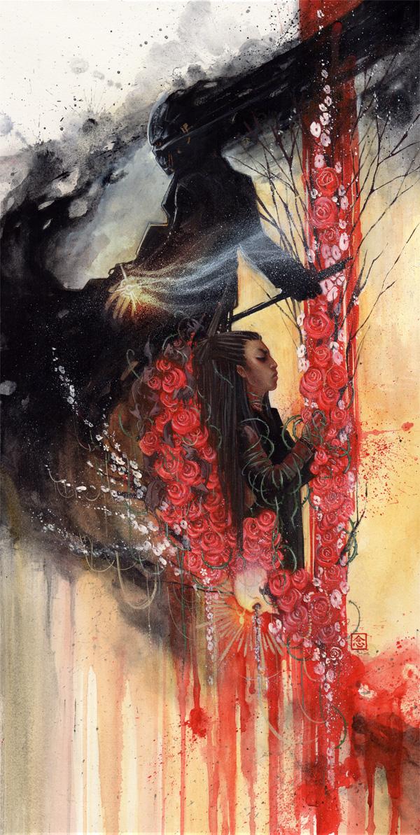 Blood Stutter \\ 12x24 \\watercolor, gouache