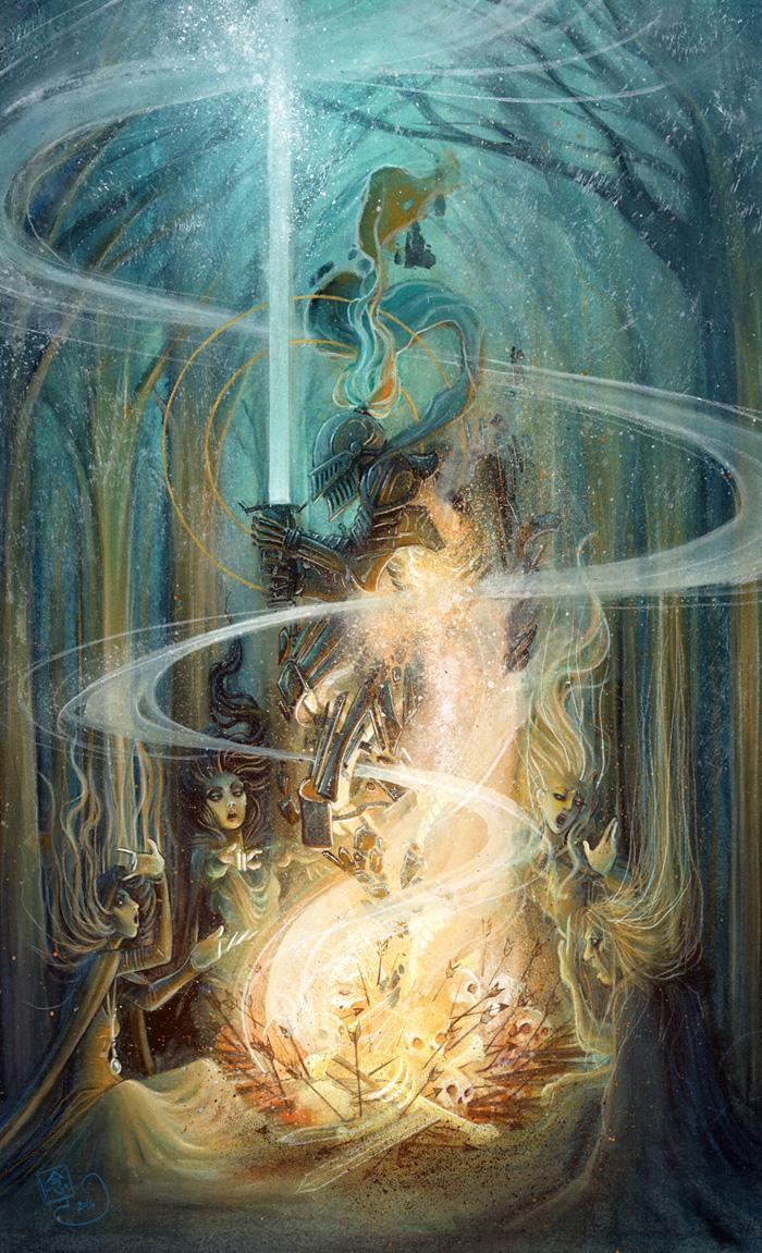 Chosen Undead \\ 10x18 \\watercolor, gouache, acrylic