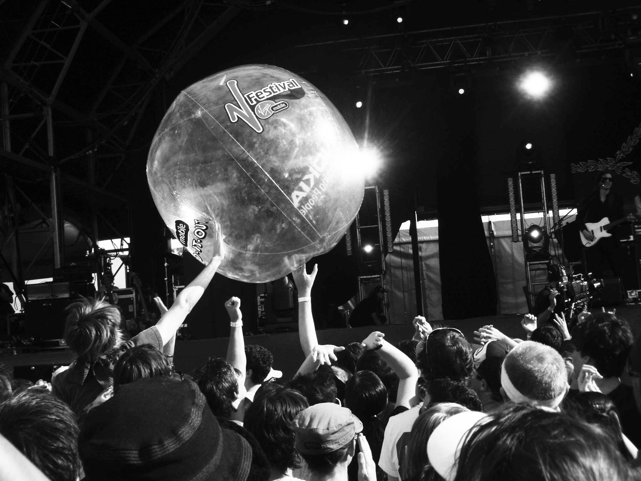 A beach ball in the crowd at the V festival Australia, 2007.