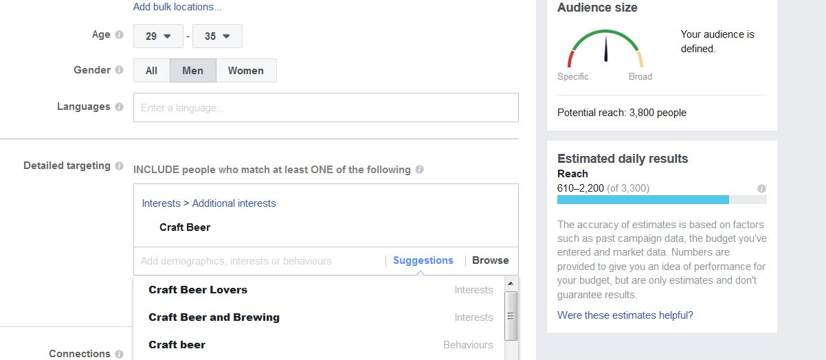 A screenshot from Facebook's advertising interface. Here I have added 'men' and 'craft beer' as a specific targeting category. This narrows the reach down to 3800 users.