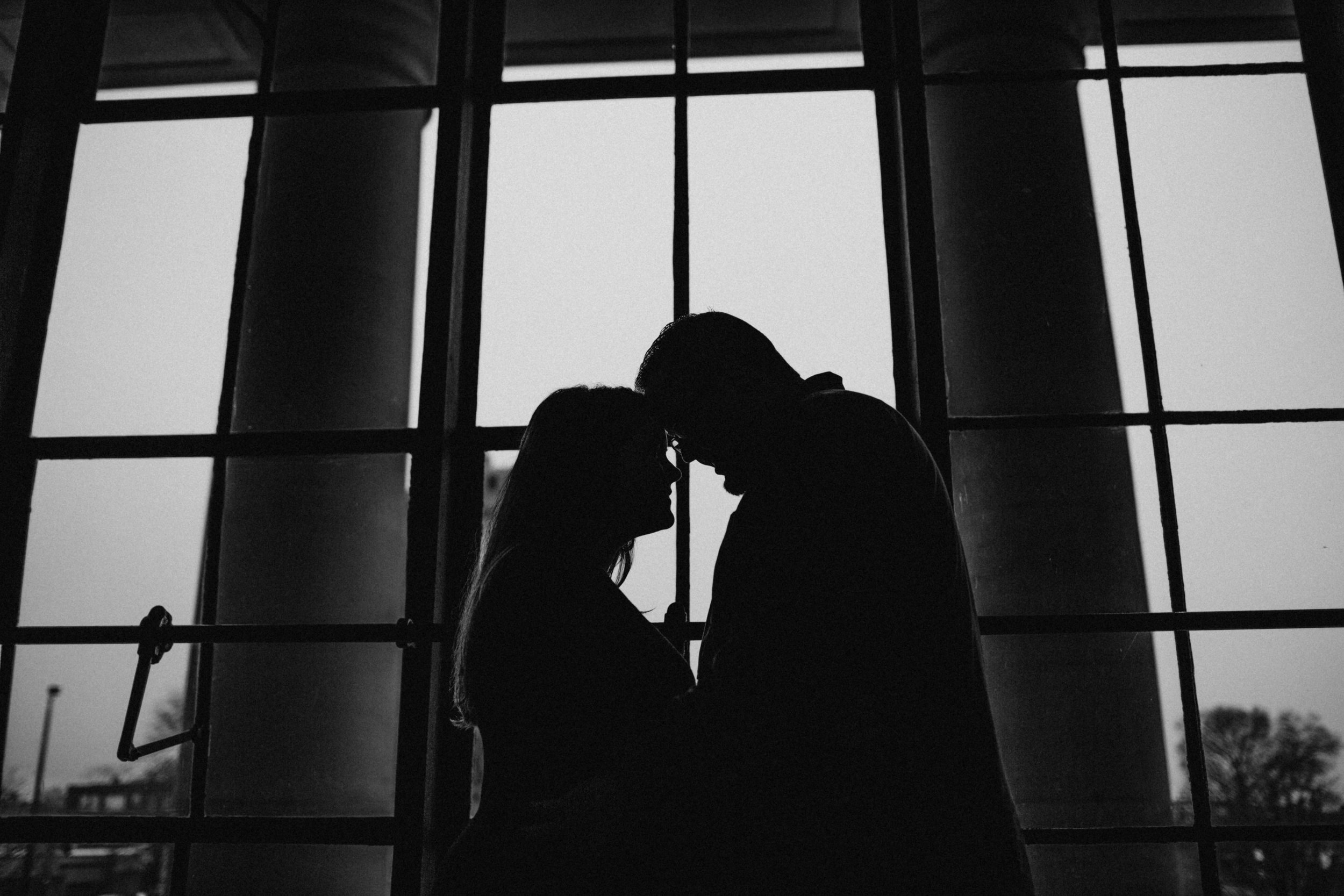 Silhouette of couple in Science Museum of VA