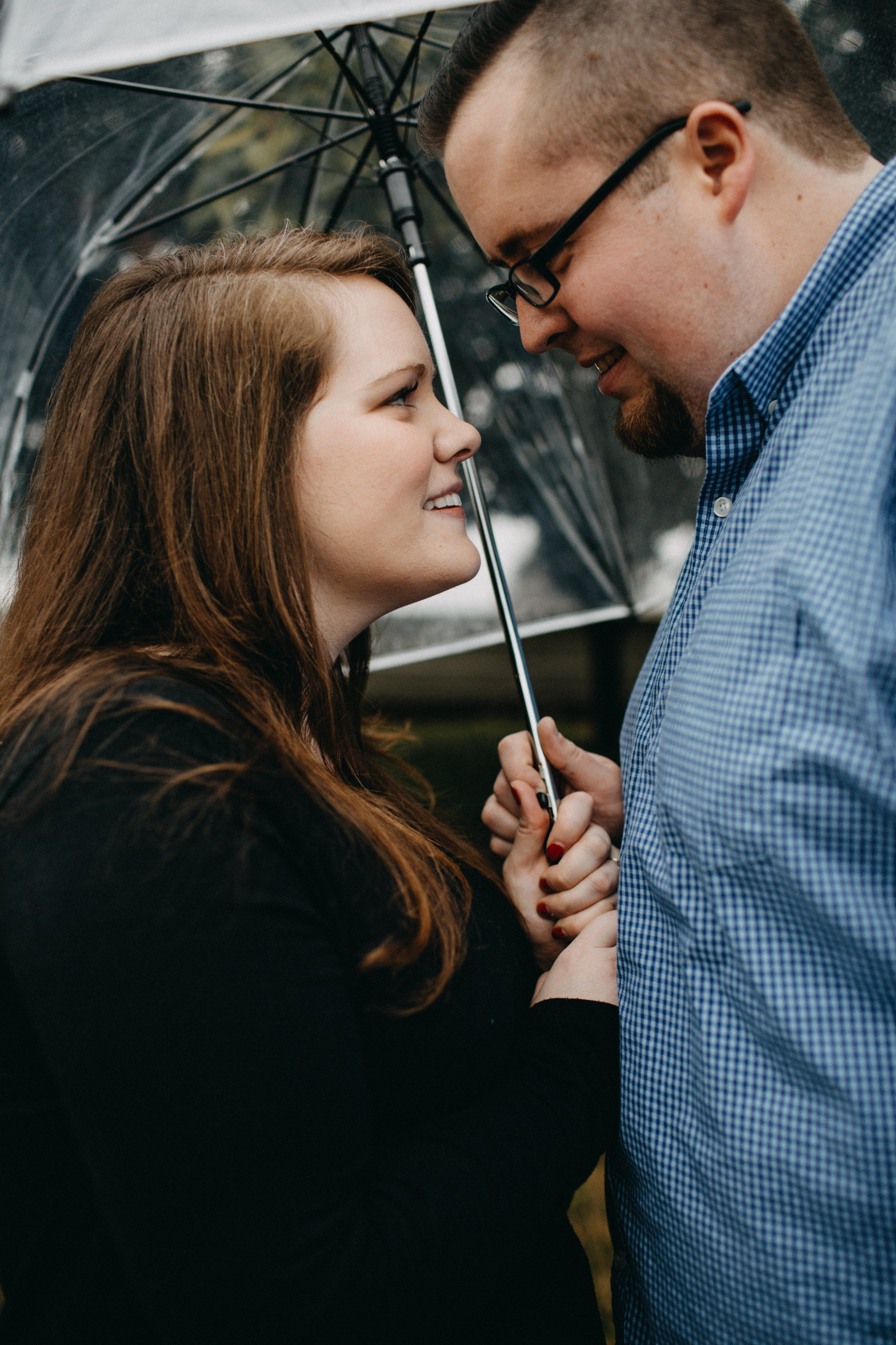 Engagement session with umbrella