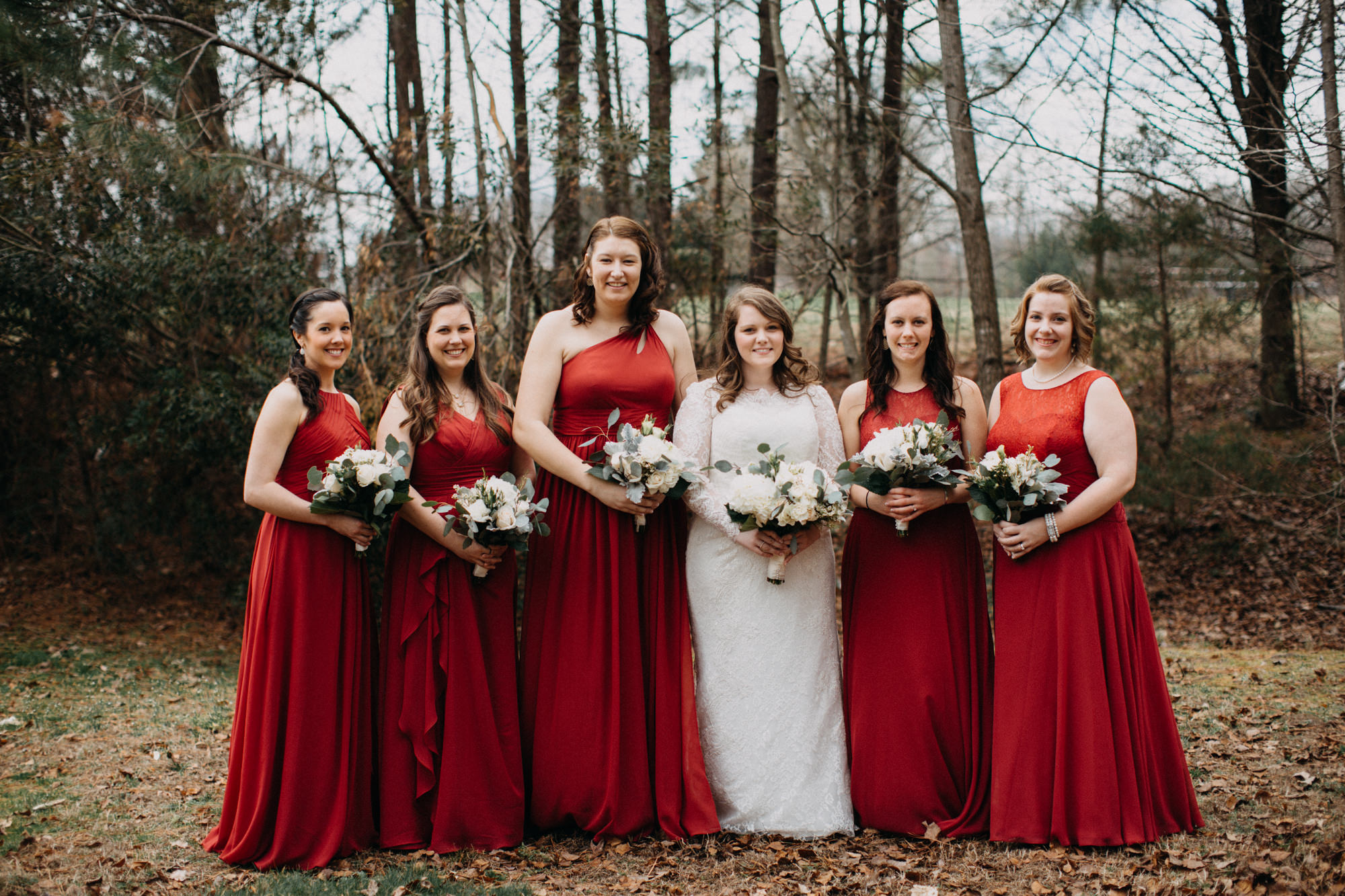 bridal party standing together