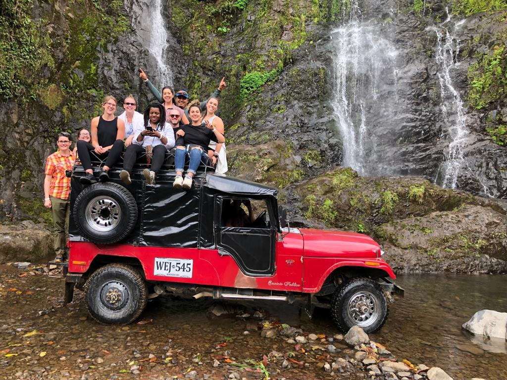 Day 2: Post workshop by a waterfall in Hernan's famous jeep. Who is Hernan? Join us next year to find out.