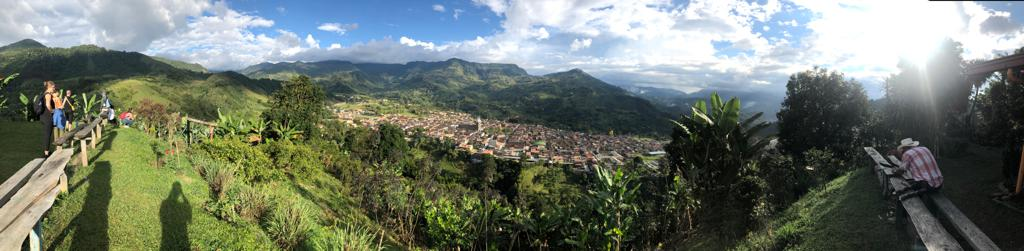 Panoramic of Jardin, Colombia. July 2019