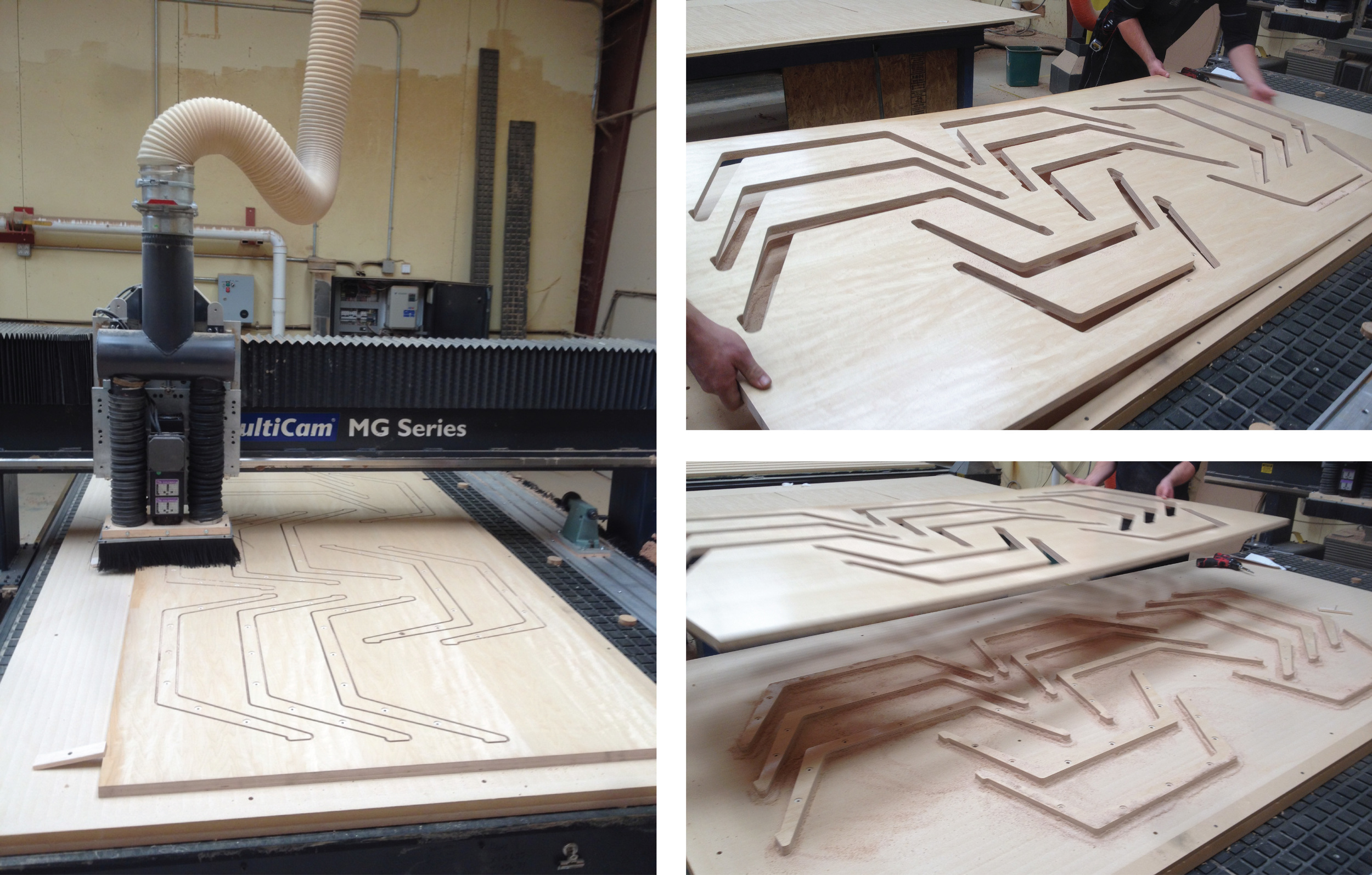 """Wood supports CNC-routed out of 1"""" apple-ply."""