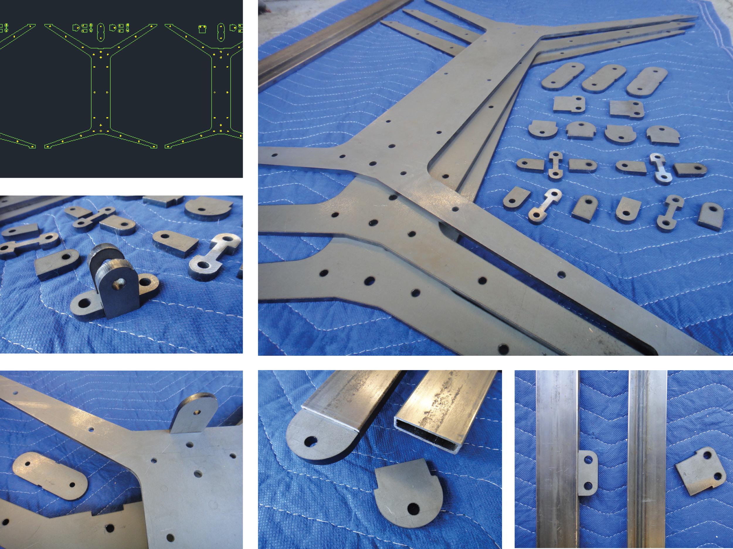 "Steel skeleton laser-cut from 1/4"" steel plate."