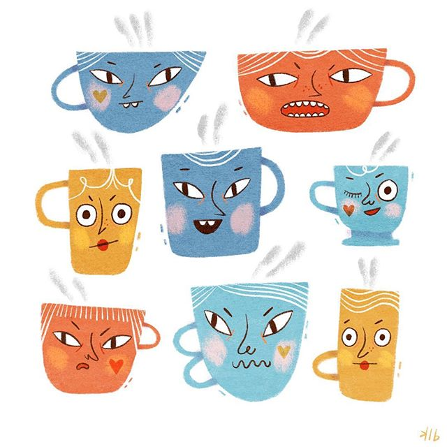 These sassy cups are all vying to be chosen to hold your tea/coffee/wine/whiskey.... Which one would you choose? 😊 #illustration #procreateart #procreate