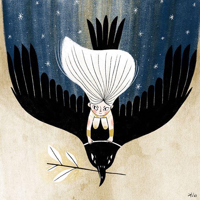 Nova, the bringer of night, rides her giant mountain crow, Obi, at dusk and slowly turns the world to shadows and stars. #procreate #procreateart #ipadproart #fairytale #kidlitart #bedtimestory