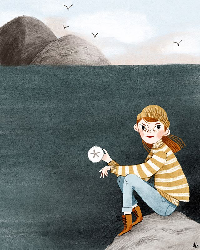 Wishing for a day filled with exploring the #oregoncoast like this little lady (instead I've been stuck inside class planning for the term). Maybe next weekend I'll make an escape - the coastline here is my favorite place. 🌲🌲🌊🌊 Swipe for a closer-in version and an alternative color 😊😊 #procreateart #kidlitart #ipadproart