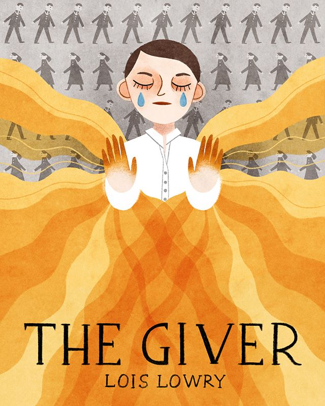 """When I was in 5th grade, we had the choice to read The Giver or The Island Of The Blue Dolphins for a book report. I chose the latter (and enjoyed it), but I distinctly remember how much my classmates loved The Giver. So it's been on my neverending """"to read"""" list since. And I finally read it the other day (ok, audiobooks it)... and I was so inspired by the concept of colors in the story that this image jumped into my head and I had to make a book cover for the book! It was a interesting challenge since it is more graphic than some of my other work, but I'm fairly happy with it. 😊 Swipe to see the full size (book size) version and then a closer in view. #thegiver #yabooks #kidlitart #bookcover"""