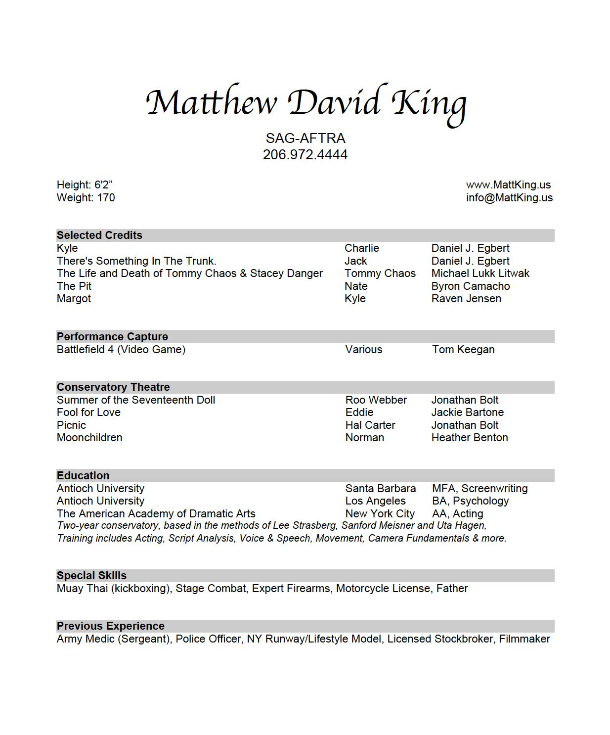 MDK Acting Resume