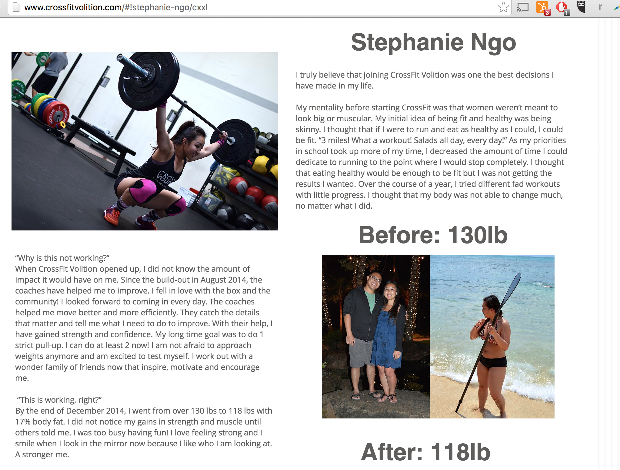 A sample page of the CrossFit Volition Transformation Page I previously made.