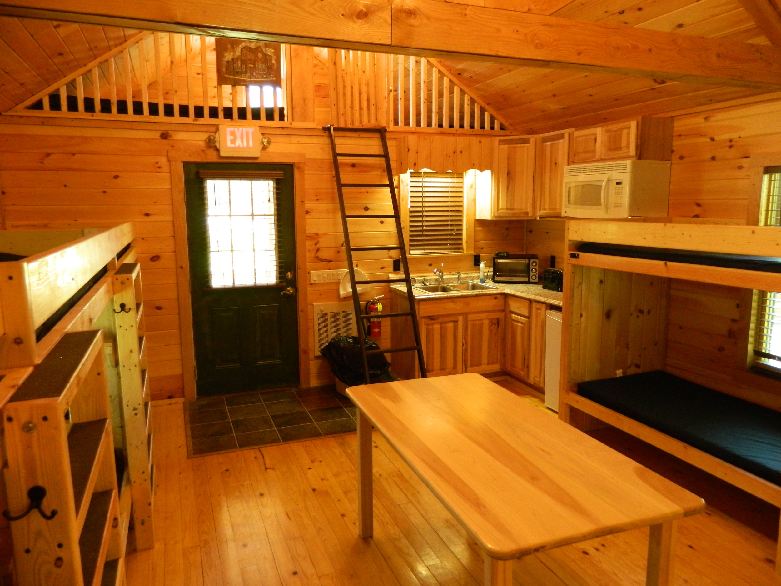 Inside of Hemlock Cabin with Front Kitchen
