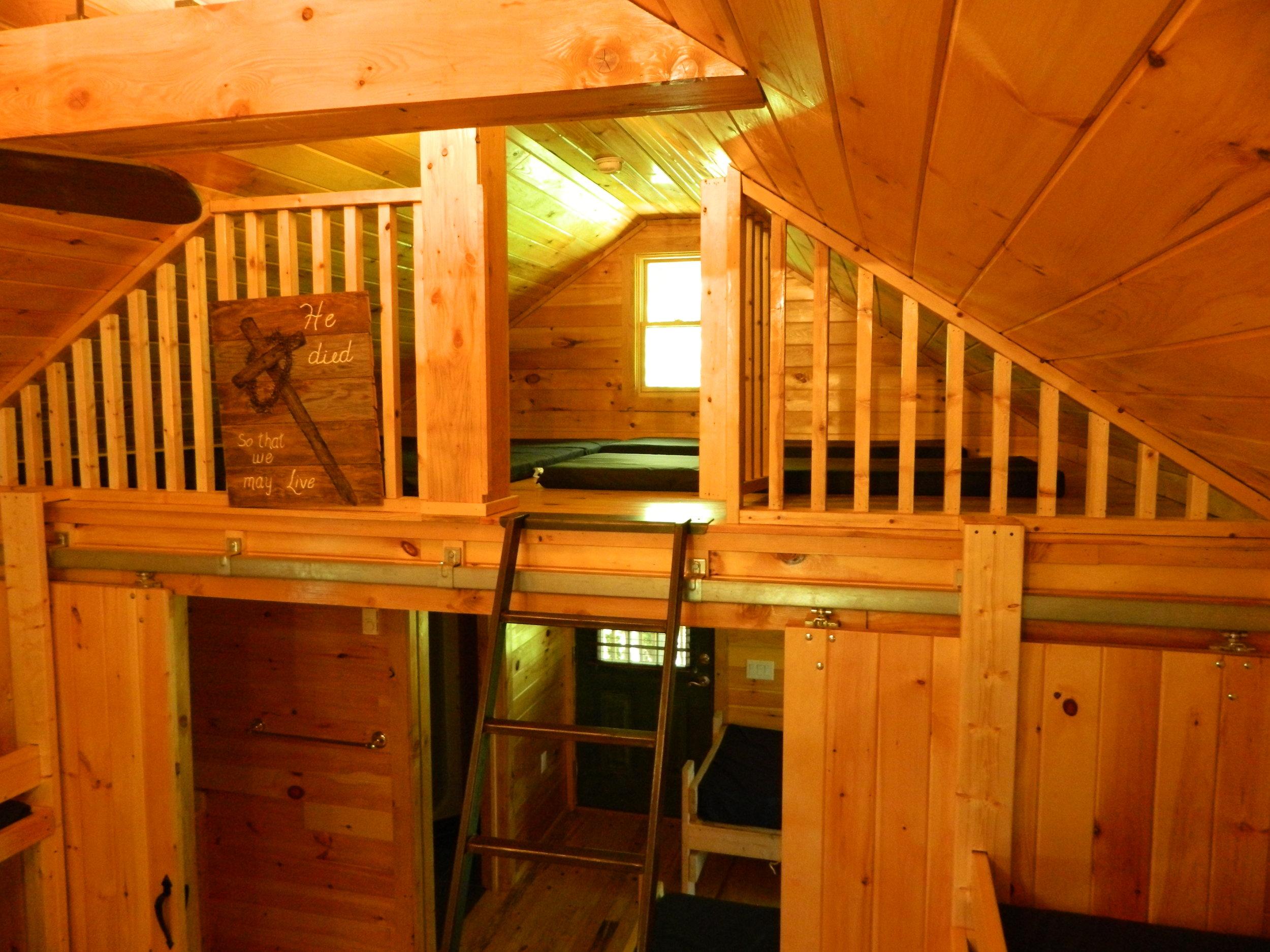 View of Rear Loft in Hemlock Cabin
