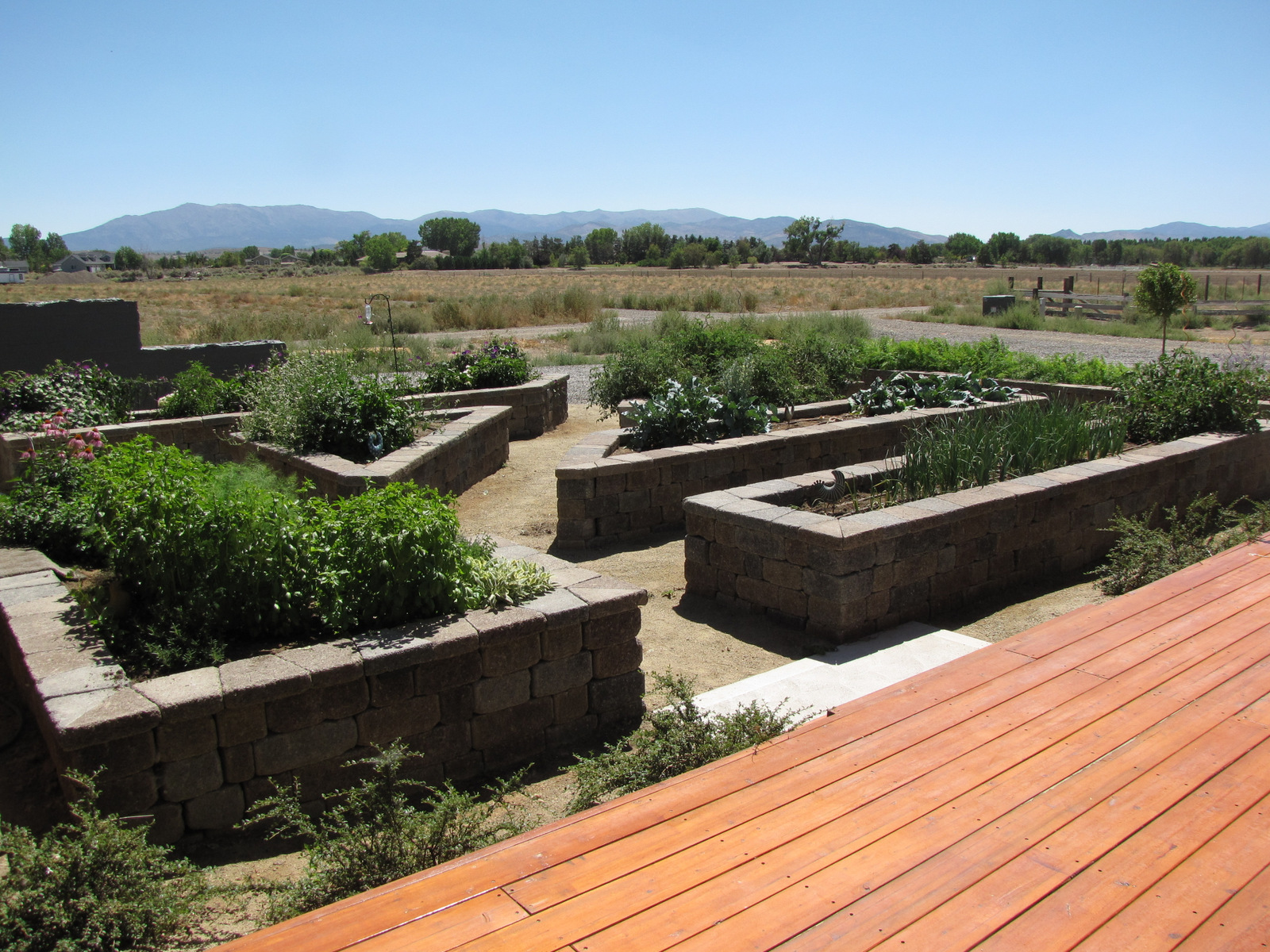 Raised beds constructed using Stonewall II block.