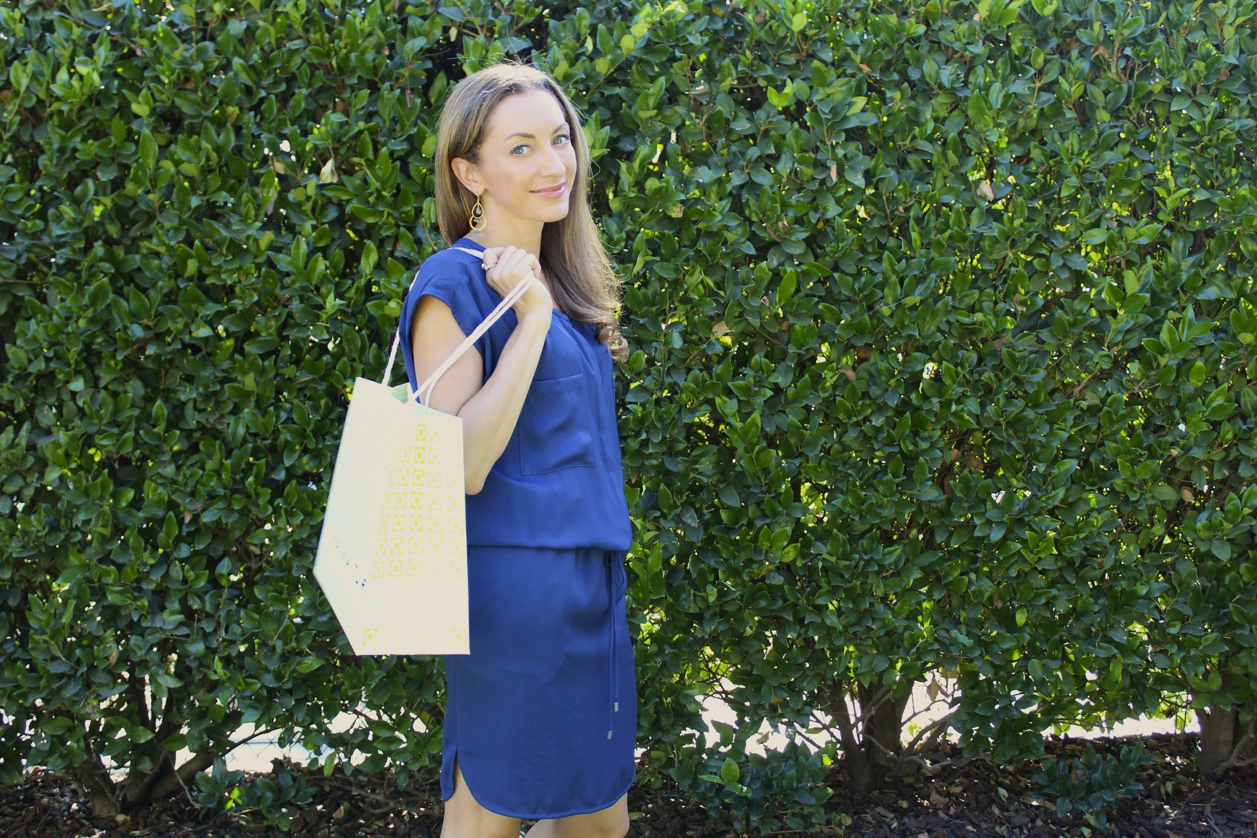 Dress: Vince gathered shirt dress in blue silk -- try one of  these!